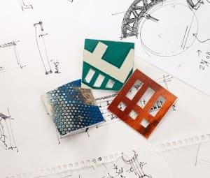 "Square ""De-SIGN' D.P.W. Brooch® & Vitrified Detritus series"